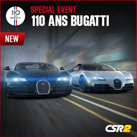 CORRECTING and REPLACING PHOTO Zynga Celebrates Bugatti's 110th Anniversary with Special CSR Racing 2 Event Series