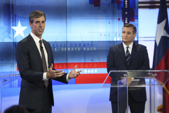 Rep. Beto O'Rourke, D-Texas, and Cruz debate on Oct. 16, 2018, in San Antonio during the campaign for the U.S. Senate. (Photo: Tom Reel/San Antonio Express-News via AP, Pool)
