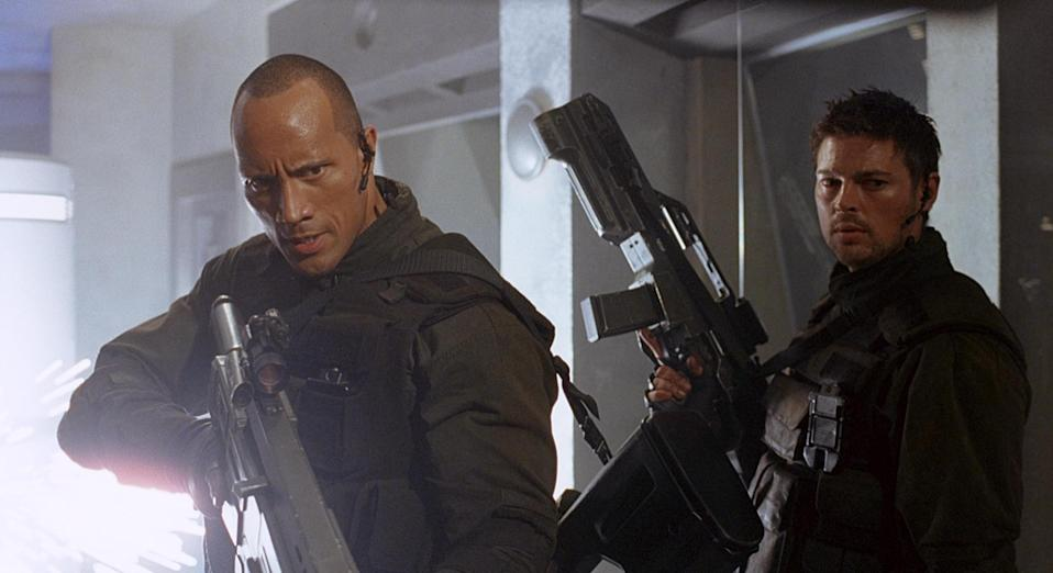 The Rock in Doom with Karl Urban (Credit: Universal)
