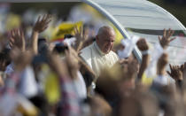 FILE - In this July 12, 2015, file photo, Pope Francis arrives to celebrate a mass in Asuncion, Paraguay. Across the globe, Pope Francis' comments endorsing same-sex civil unions were received by some as encouragement for an advancing struggle and condemned by others as an earth-shaking departure from church doctrine. (AP Photo/Natacha Pisarenko, File)