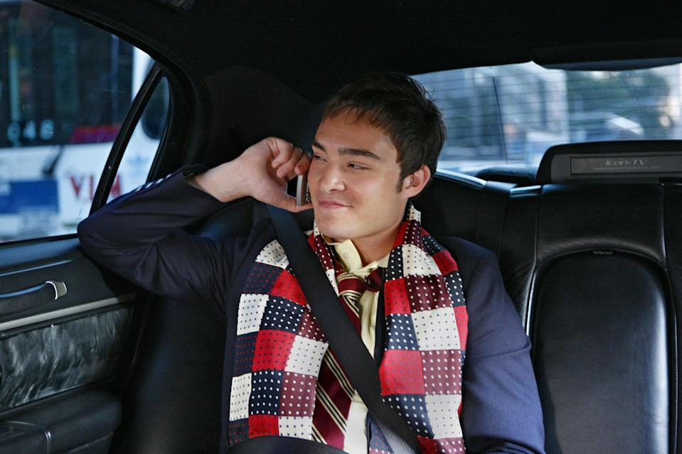 <p>Ah, the infamous patchwork scarf. This J. Press scarf became a wardrobe staple for Chuck in season 1.</p>
