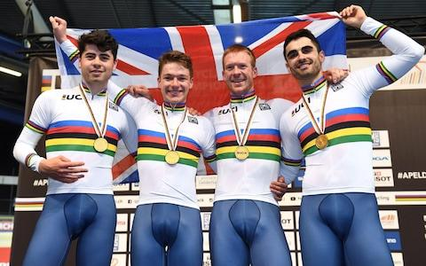 <span>A first world title arrived in 2018 too, courtesy of team pursuit gold in Apeldoorn</span> <span>Credit: AFP </span>