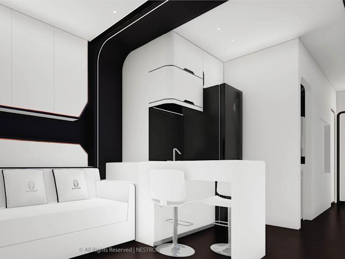 a rendering of the two-bedroom Cube Two X's living room and kitchen