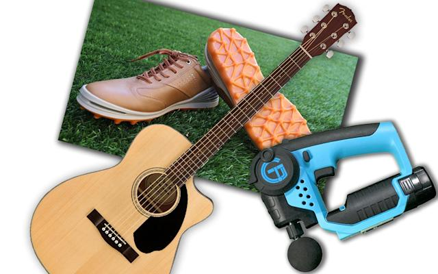 <p>Fender CD-60SCE Acoustic Guitar, Ecco Cage Pro shoes, TheraGun. (Photos: Handout, Gordon Donovan/Yahoo News, Handout) </p>