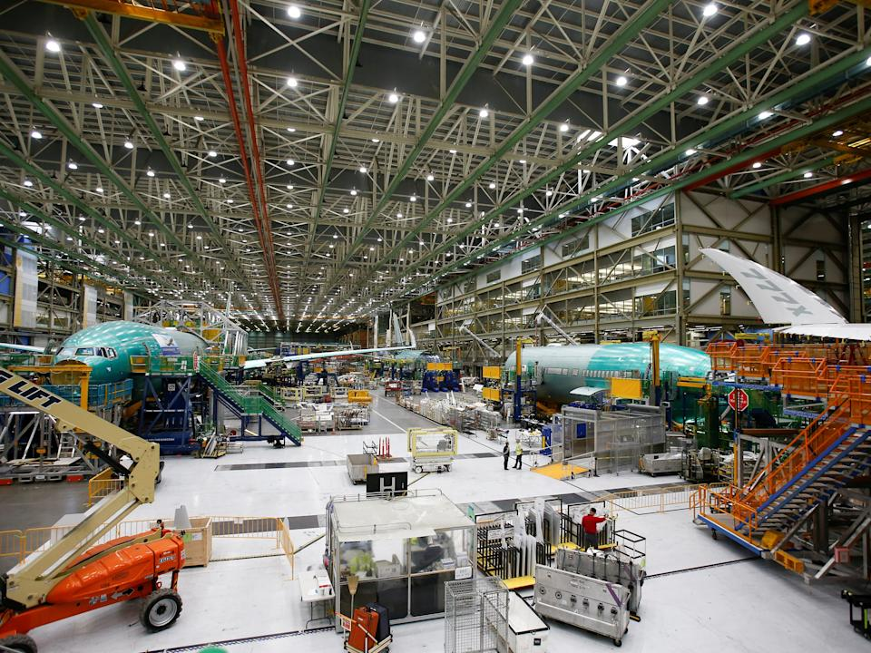 FILE PHOTO: Several Boeing 777X aircraft are seen in various stages of production during a media tour of the Boeing 777X at the Boeing production facility in Everett, Washington, U.S., February 27, 2019.  REUTERS/Lindsey Wasson