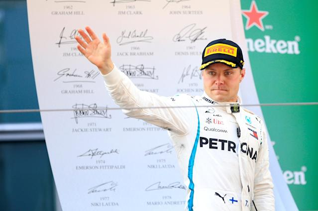 Formula One F1 - Chinese Grand Prix - Shanghai International Circuit, Shanghai, China - April 15, 2018 Mercedes' Valtteri Bottas on the podium after finishing second in the race REUTERS/Aly Song