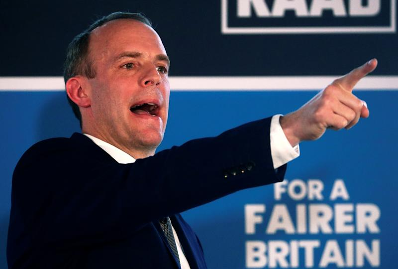 Britain's former Brexit Minister Dominic Raab gestures as he speaks at the launch of his campaign for the Conservative Party leadership, in London, Britain June 10, 2019. REUTERS/Hannah McKay