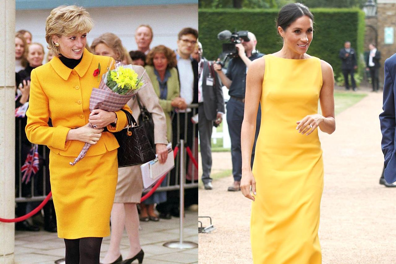 "<p>Princess Diana looked amazing in yellow anytime she wore it—and so does Meghan. Here, in this 1995 pic, Princess Di rocked a marigold skirt suit set by Versace and carried a Dior bag. Meghan donned the sunny color in the form of a sleeveless <a href=""https://www.marieclaire.com/fashion/a22036158/meghan-markle-yellow-dress-youth-challenge-reception/"" target=""_blank"">Brandon Maxwell dress</a> in 2018 for the  <a href=""https://www.marieclaire.com/culture/a22037785/prince-harry-meghan-markle-your-commonwealth-youth-challenge-reception-photos/"" target=""_blank"">'Your Commonwealth' Youth Challenge Reception</a>.</p>"