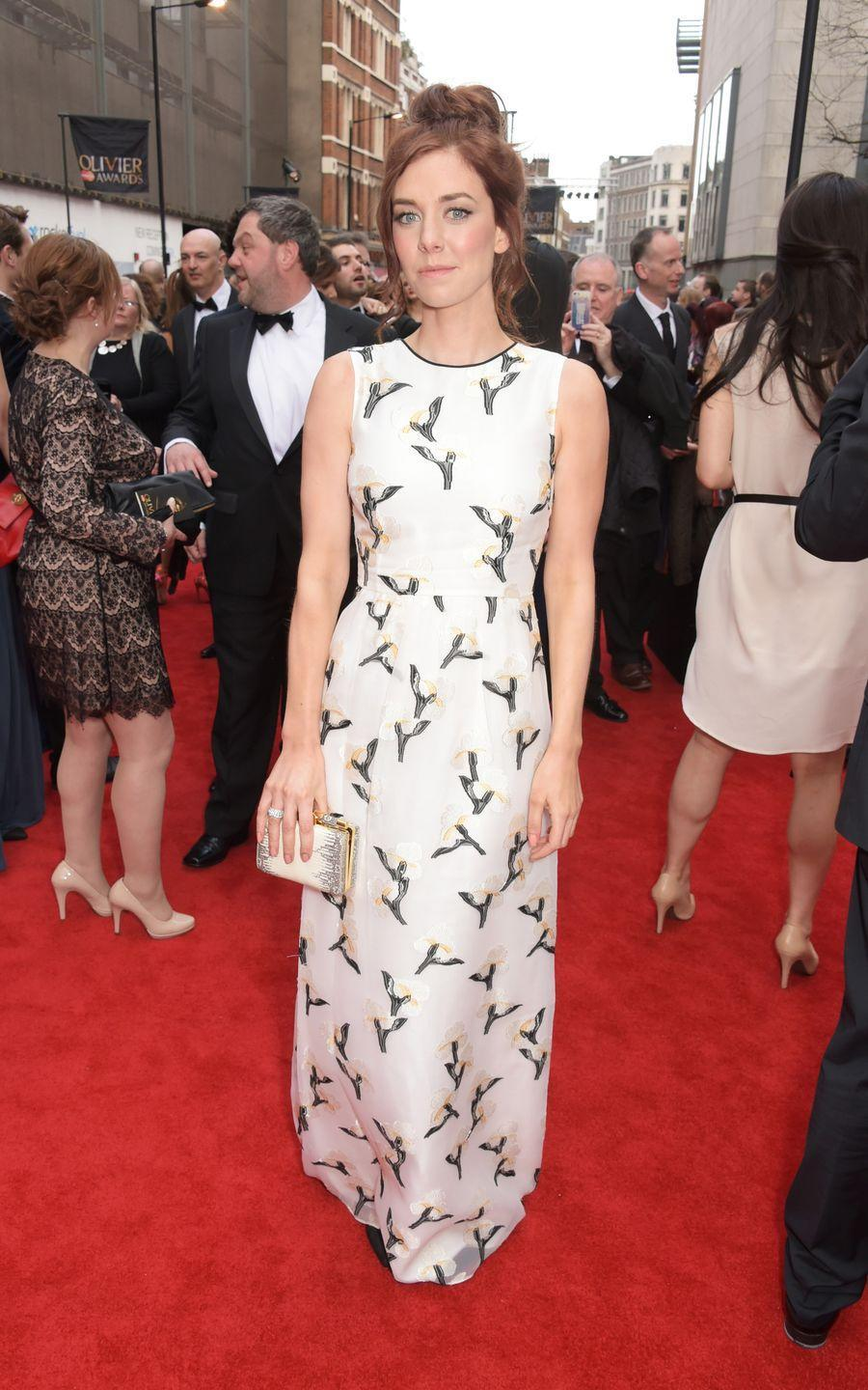 <p>Kirby wears a printed gown to the Olivier Awards in London.</p>
