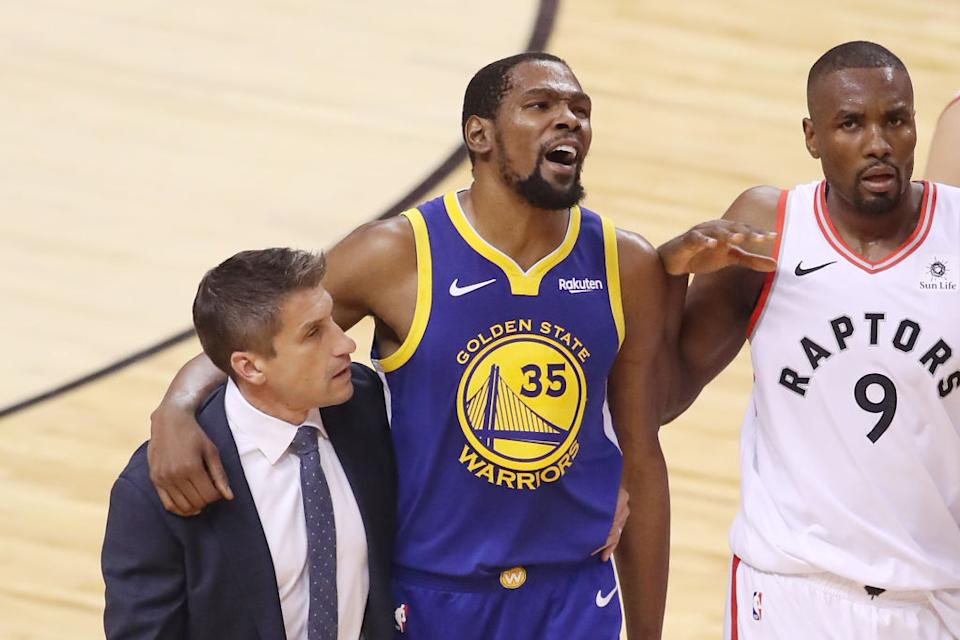 Kevin Durant is facing a season on the sideline after an injury in the finals. (Photo by Claus Andersen/Getty Images)