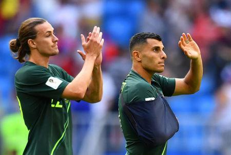 Soccer Football - World Cup - Group C - Denmark vs Australia - Samara Arena, Samara, Russia - June 21, 2018 Australia's Andrew Nabbout and Jackson Irvine after the match REUTERS/Dylan Martinez