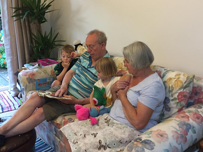 Katherine's kids with their grandparents, who are based in the UK. Photo: Katherine Chatfield (supplied).