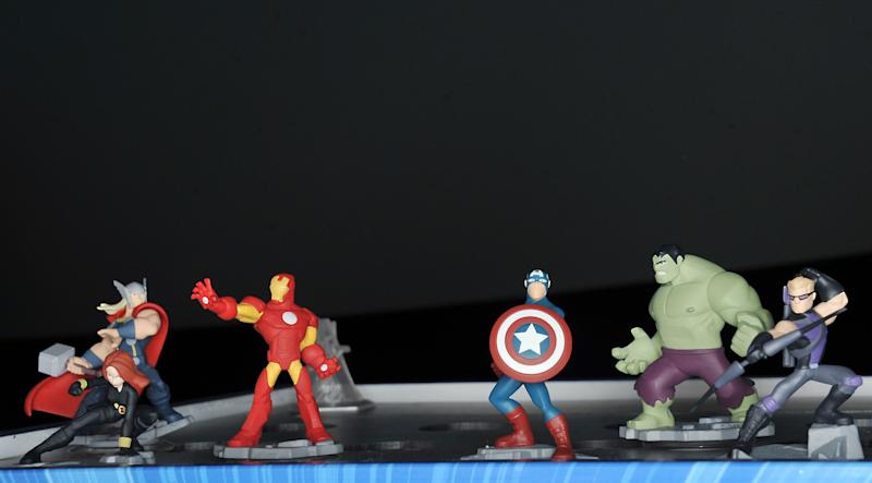 Marvel characters are introduced at Disney Infinity 2.0 launch at Pacific Theatres Cinerama Dome on Wednesday, April 30, 2014 in the Hollywood section of Los Angeles. (Photo by Katy Winn/Invision/AP)