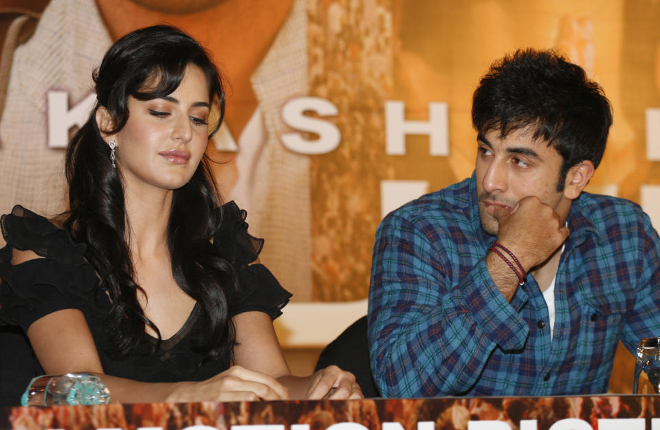 MUMBAI, INDIA - MAY 08: Bollywood actors Katrina Kaif (L) and Ranbir Kapoor take part in a press conference for the movie 'Rajneeti' (or 'Politics'), on May 8, 2010 in Mumbai, India. 'Rajniti' is scheduled for release in June 2010, and has a cast of top Bollywood stars including Ranbir Kapoor, Katrina Kaif, Nana Patekar, Ajay Devgan, Vivek Oberoi, Manoj Bajpai and Arjun Rampal. 'Rajniti' is loosely based on the Gandhi family with Katrina Kaif�s role seemingly inspired by that of Sonia Gandhi. (Photo by Getty Images)
