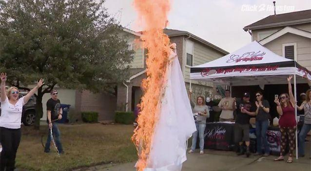Ms Barksdale set fire to her dress. Source: Click2Houston