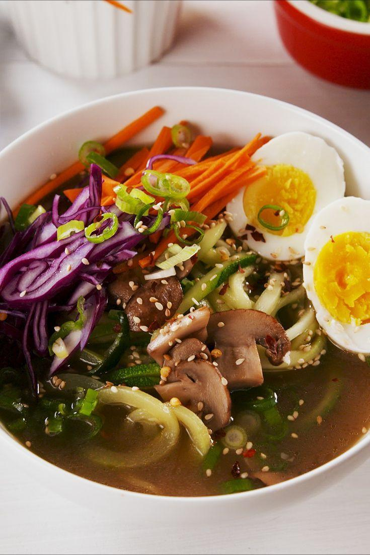 """<p>Rich, umami bone broth is made even better with fresh zoodles in place of ramen. You'll enjoy tender mushrooms, zesty ginger, and the salty zing of a soy sauce base.</p><p><em><a href=""""https://www.delish.com/cooking/recipe-ideas/a25608564/zoodle-ramen-recipe/"""" rel=""""nofollow noopener"""" target=""""_blank"""" data-ylk=""""slk:Get the recipe from Delish »"""" class=""""link rapid-noclick-resp"""">Get the recipe from Delish »</a></em></p>"""