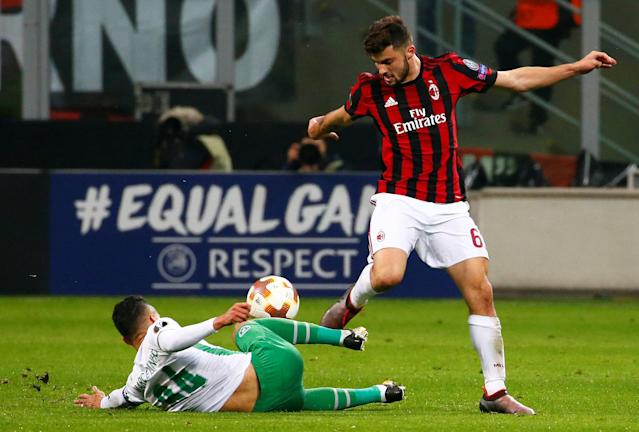 Soccer Football - Europa League Round of 32 Second Leg - AC Milan vs PFC Ludogorets Razgrad - San Siro, Milan, Italy - February 22, 2018 AC Milan's Patrick Cutrone in action with Ludogorets' Marcelinho REUTERS/Tony Gentile