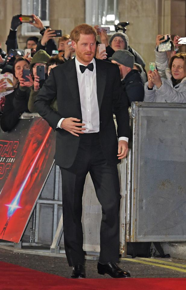 <p>Prince Harry wore a traditional tuxedo with peak lapels to the European Premiere of <em>Star Wars: The Last Jedi</em> at the Royal Albert Hall in London on December 12, 2017.</p>