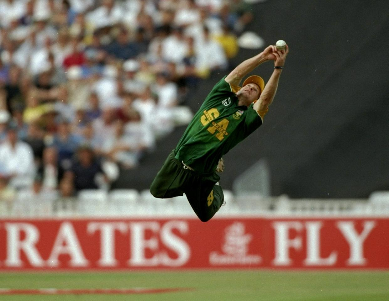 18 Aug 1998:  Jonty Rhodes of South Africa catches Robert Croft of England during the Emirates Trophy match at Edgebaston in Birmingham, England.  \ Mandatory Credit: Adrian Murrell /Allsport