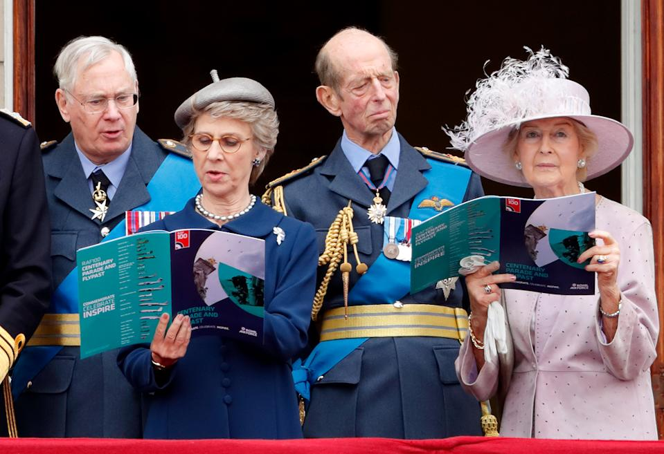 LONDON, UNITED KINGDOM - JULY 10: (EMBARGOED FOR PUBLICATION IN UK NEWSPAPERS UNTIL 24 HOURS AFTER CREATE DATE AND TIME) Prince Richard, Duke of Gloucester, Birgitte, Duchess of Gloucester, Prince Edward, Duke of Kent and Princess Alexandra watch a flypast to mark the centenary of the Royal Air Force from the balcony of Buckingham Palace on July 10, 2018 in London, England. The 100th birthday of the RAF, which was founded on on 1 April 1918, was marked with a centenary parade with the presentation of a new Queen's Colour and flypast of 100 aircraft over Buckingham Palace. (Photo by Max Mumby/Indigo/Getty Images)