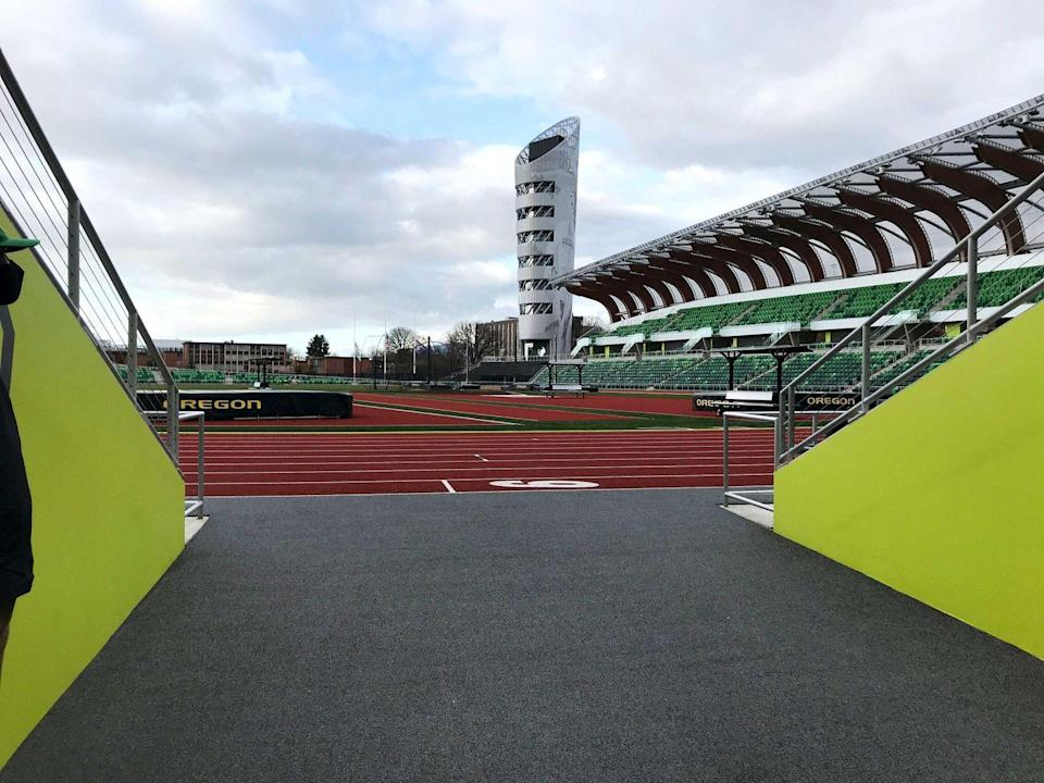 <p>Athletes can exit the track at the south end, giving fans in those seats a closeup view. </p>