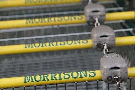 Shopping trolleys are seen at a Morrisons supermarket in London
