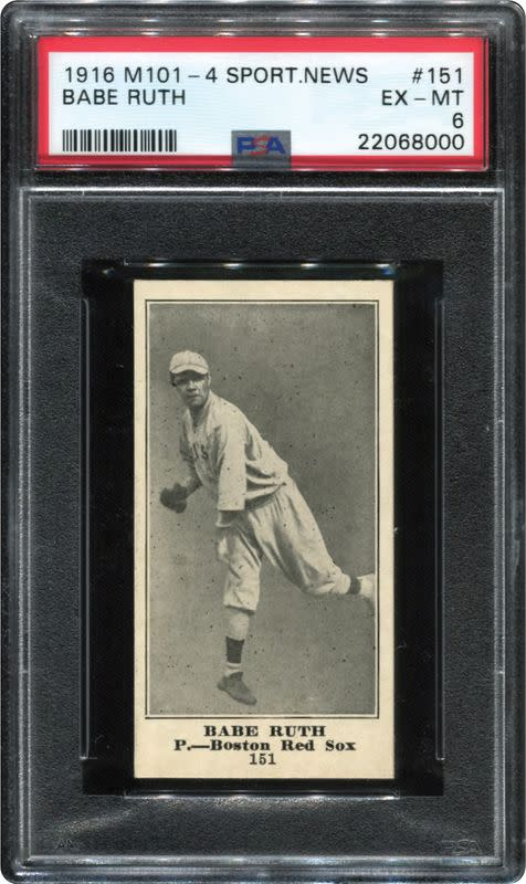 A 1916 Sporting News Babe Ruth rookie card from the collection of Dr. Thomas Newman