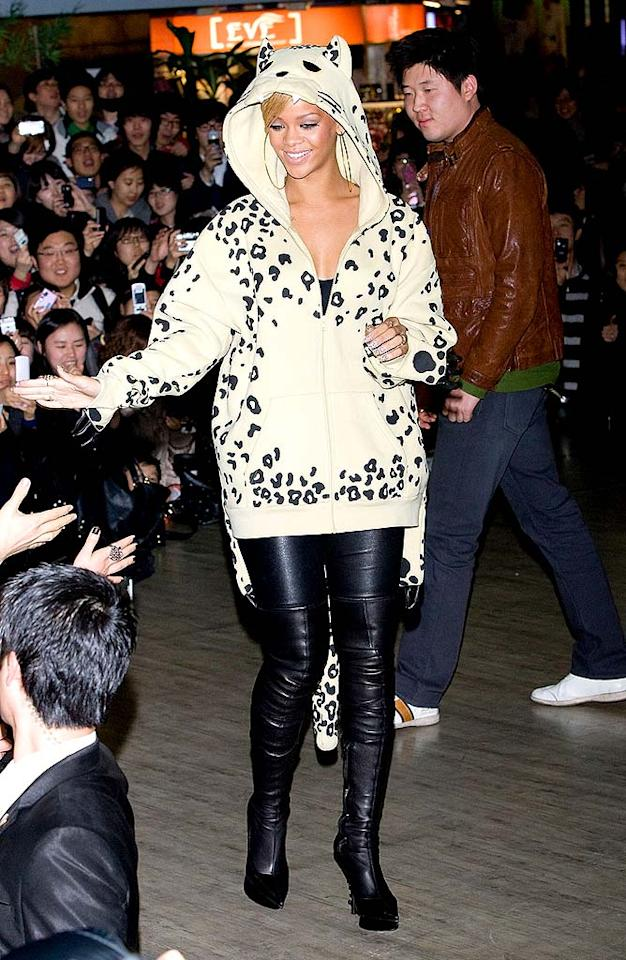 """Rihanna is undoubtedly hot, but everything about this look -- from her childish hoodie to her ginormous hoop earrings -- is not. Han Myung-Gu/<a href=""""http://www.wireimage.com"""" target=""""new"""">WireImage.com</a> - February 11, 2010"""