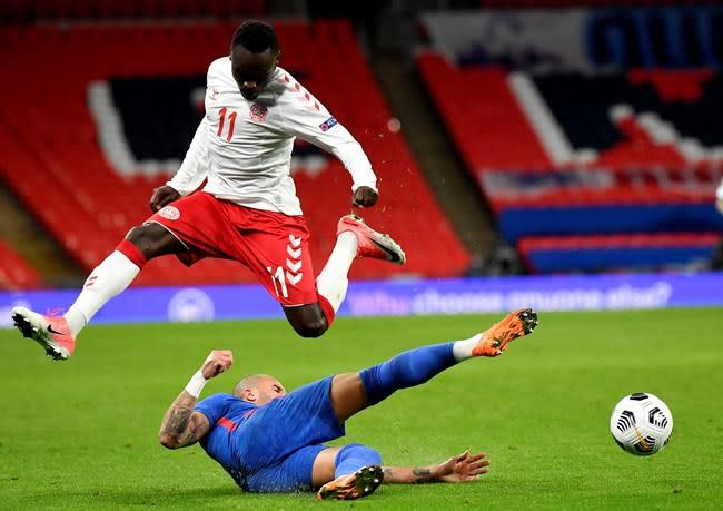 England duo sent off as Denmark wins Nations League game 1-0