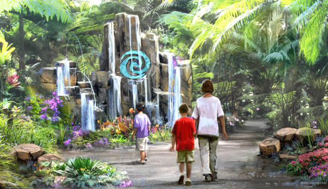 "Journey of Water at Epcot , Inspired by ""Moana,"" will be the first attraction inspired by the hit Walt Disney Animation Studios film. This lush exploration trail will invite guests to meet and play with magical, living water. (Disney)"