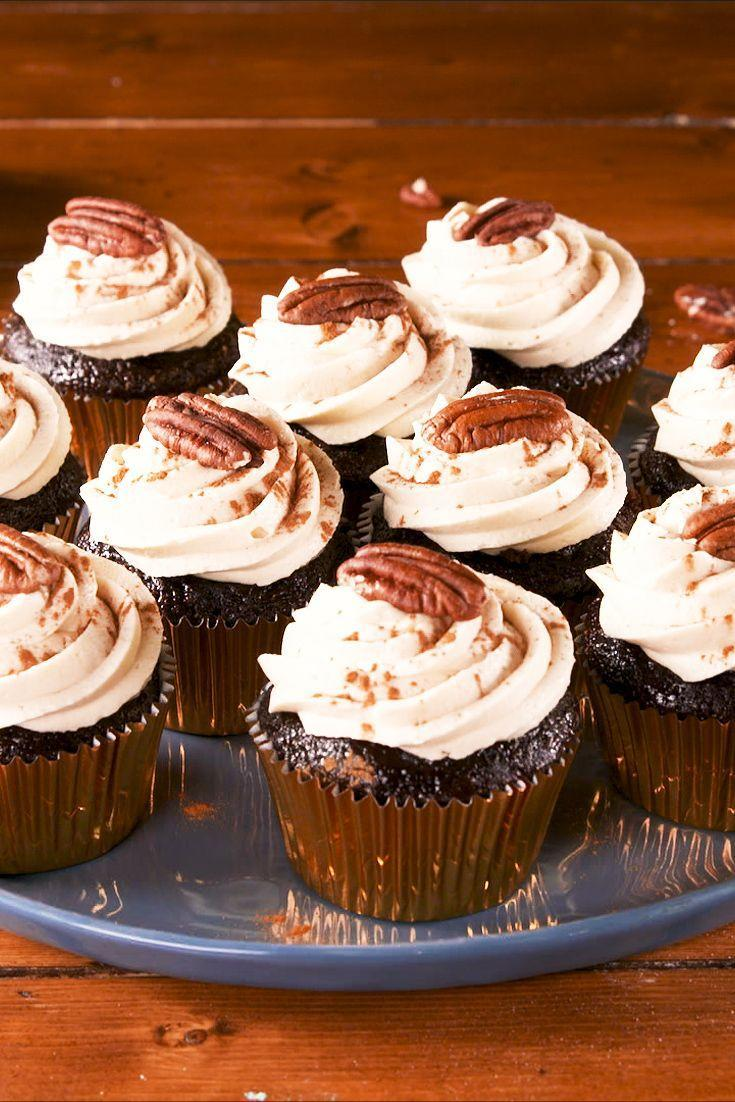 "<p>Combine the best of both worlds with these beautiful, pecan-topped cupcakes.</p><p>Get the recipe from <a href=""https://www.delish.com/cooking/recipe-ideas/a29359390/boozy-pecan-pie-cupcakes-recipe/"" rel=""nofollow noopener"" target=""_blank"" data-ylk=""slk:Delish"" class=""link rapid-noclick-resp"">Delish</a>. </p>"