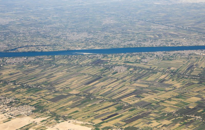 Aerial view of the River Nile valley and desert