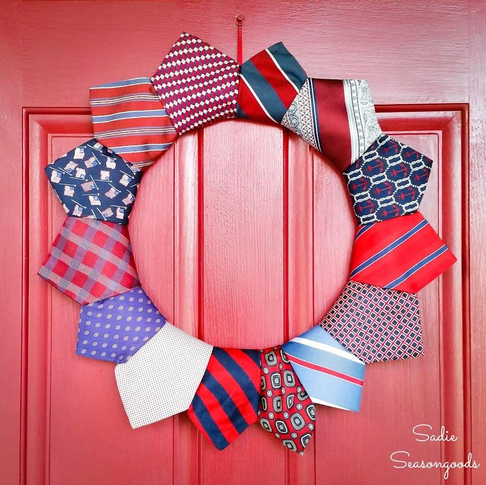 """<p>Repurpose Dad's old neckties into a handsome 4th of July wreath with this simple tutorial.</p><p><strong>Get the tutorial at <a href=""""https://www.sadieseasongoods.com/fly-tie-on-the-4th-of-july/"""" rel=""""nofollow noopener"""" target=""""_blank"""" data-ylk=""""slk:Sadie Seasongoods"""" class=""""link rapid-noclick-resp"""">Sadie Seasongoods</a>.</strong></p><p><strong><a class=""""link rapid-noclick-resp"""" href=""""https://www.amazon.com/Royalty-Essentials-Metal-Wreath-Hanger/dp/B07LBVJXXK/ref=sr_1_6?dchild=1&keywords=wreath+wire&qid=1622043373&sr=8-6&tag=syn-yahoo-20&ascsubtag=%5Bartid%7C10050.g.4464%5Bsrc%7Cyahoo-us"""" rel=""""nofollow noopener"""" target=""""_blank"""" data-ylk=""""slk:SHOP WREATH WIRE"""">SHOP WREATH WIRE</a></strong></p>"""