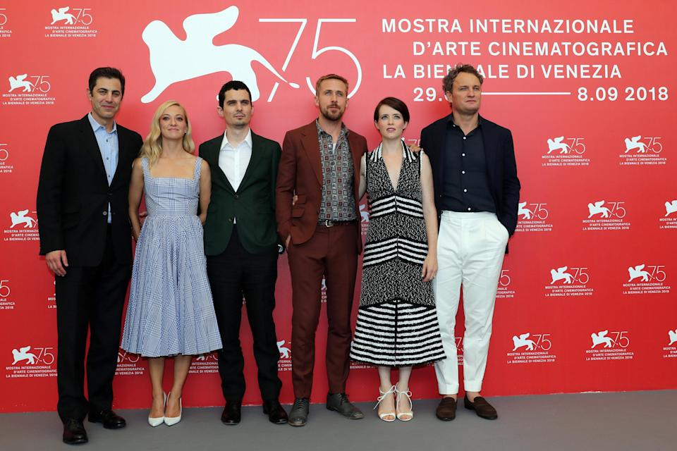"""The 75th Venice International Film Festival – photocall for the opening movie """"First Man"""" competing in the Venezia 75 section – Venice, Italy, August 29, 2018 – Director Damien Chazelle, screenwriter Josh Singer and cast members Ryan Gosling, Jason Clarke, Olivia Hamilton and Claire Foy. REUTERS/Tony Gentile"""