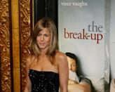"""<p>In 2006, Aniston co-starred in <em>The Break-Up</em> with Vince Vaughn. The two <a href=""""https://www.usmagazine.com/celebrity-news/news/vince-vaughn-recalls-dating-jennifer-aniston-hated-the-attention-2015122/"""" rel=""""nofollow noopener"""" target=""""_blank"""" data-ylk=""""slk:briefly dated"""" class=""""link rapid-noclick-resp"""">briefly dated</a> after meeting on the set of the comedy. After her romance with Pitt died out, Jen referred to Vince as her """"defibrillator.""""</p>"""