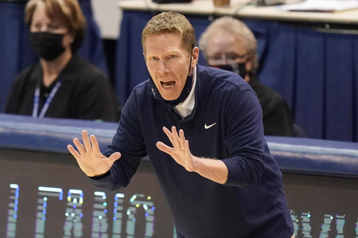 Gonzaga head coach Mark Few shouts to his team in the second half of an NCAA college basketball game against BYU, Monday, Feb. 8, 2021, in Provo, Utah. (AP Photo/Rick Bowmer)