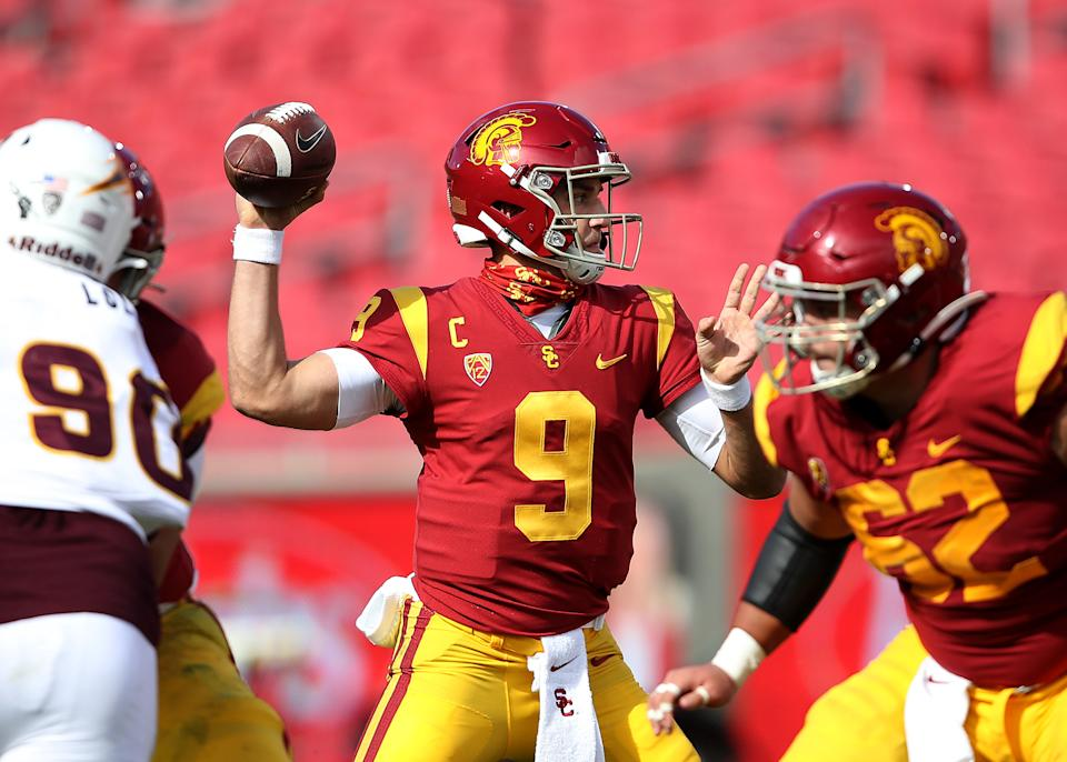 LOS ANGELES, CALIFORNIA - NOVEMBER 07:  Kedon Slovis #9 of the USC Trojans makes a pass against the Arizona State Sun Devils during the first half of a game at Los Angeles Coliseum on November 07, 2020 in Los Angeles, California. (Photo by Sean M. Haffey/Getty Images)