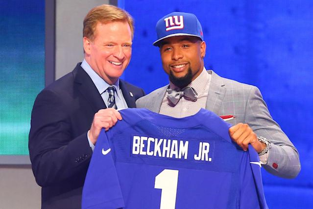 NFL commissioner Roger Goodell and Odell Beckham Jr. after the New York Giants selected Beckham 12th overall during the 2014 NFL draft. (Photo by Rich Graessle/Icon SMI/Corbis/Icon Sportswire via Getty Images)