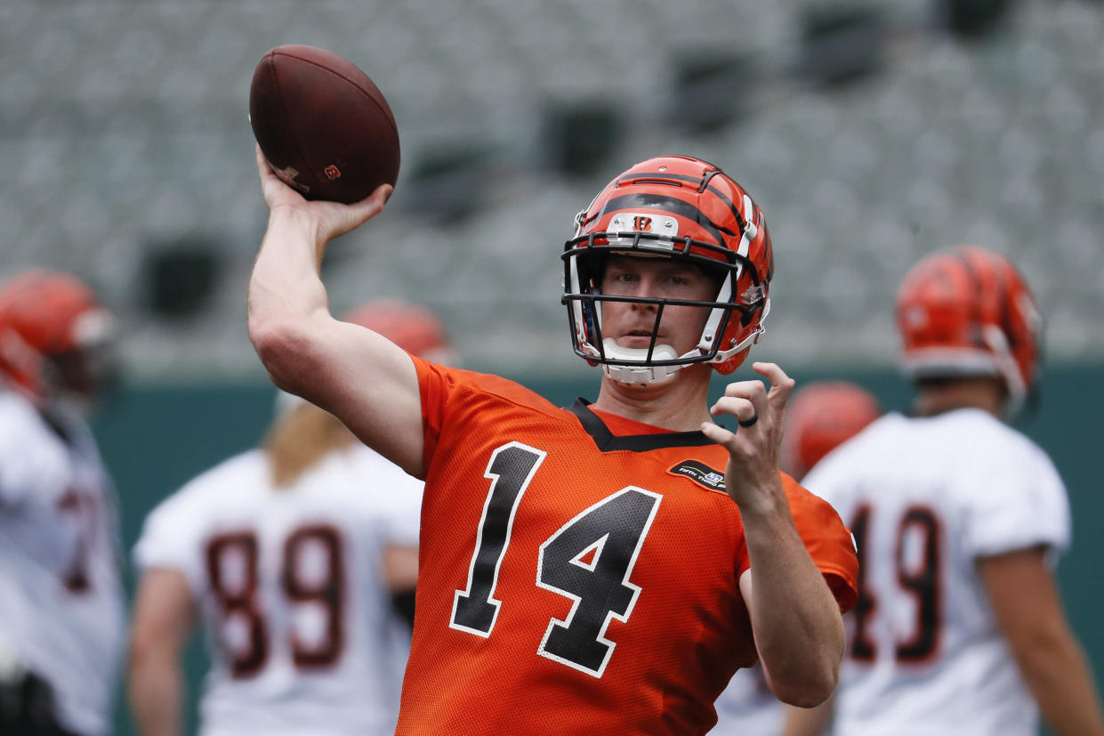 "Will a revitalized Bengals squad force <a class=""link rapid-noclick-resp"" href=""/nfl/players/24822/"" data-ylk=""slk:Andy Dalton"">Andy Dalton</a> into production? Yahoo fanalyst Liz Loza believes it's an early-season possibility. (AP Photo/John Minchillo)"