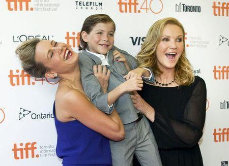 """Actor Brie Larson, Jacob Trembley and Joan Allen arrive for the premiere of the movie """"Room"""" at TIFF the Toronto International Film Festival in Toronto."""