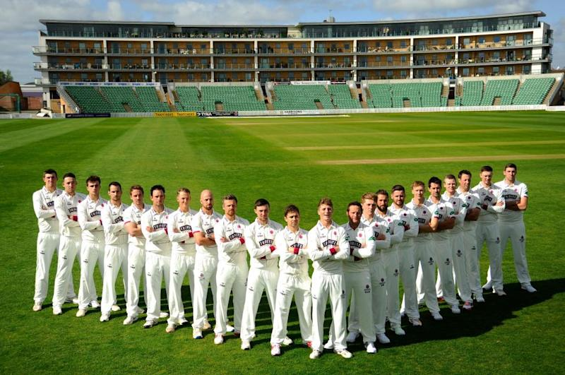 Lining up to be a special season? Captain Tom Abell poses with his Somerset team ahead of the new campaign
