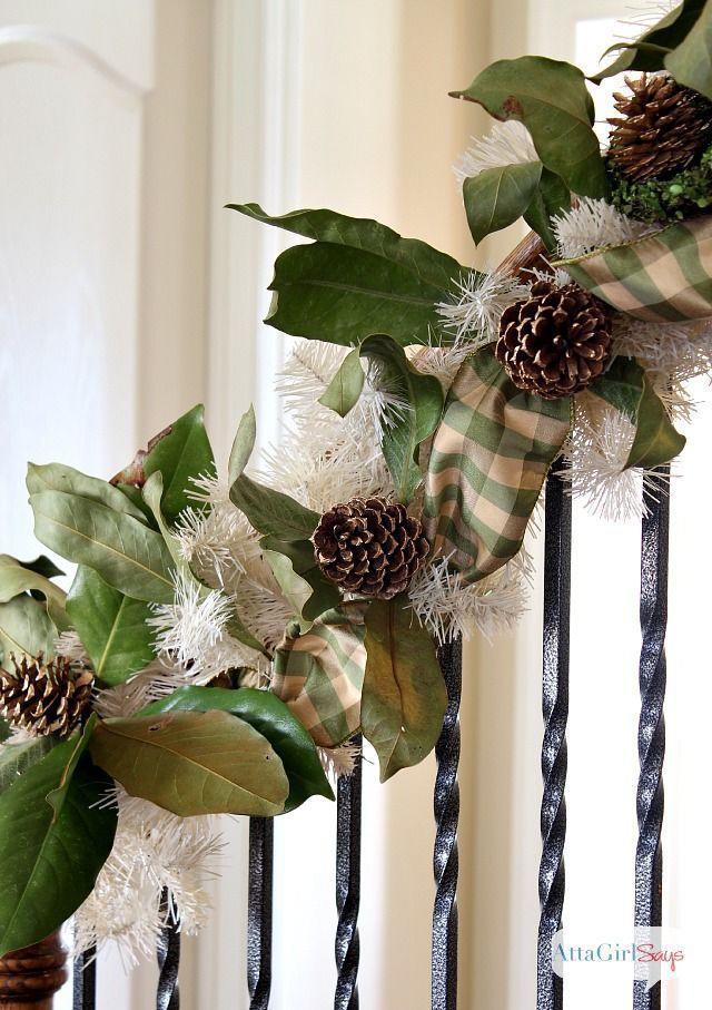 "<p>Mix faux garland with real greenery, weaving in pine cones and a matching thick ribbon.</p><p>See more at <a href=""http://www.attagirlsays.com/2013/12/09/handmade-christmas-garland/"" rel=""nofollow noopener"" target=""_blank"" data-ylk=""slk:Atta Girl Says"" class=""link rapid-noclick-resp"">Atta Girl Says</a>. </p>"