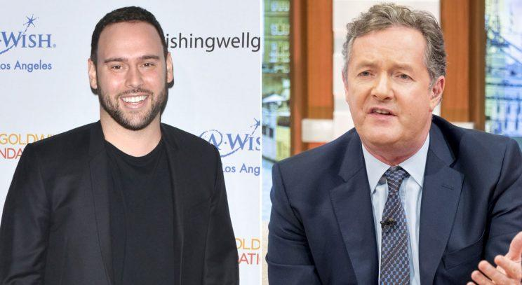 Scooter Braun andn Piers Morgan/Rex Photos
