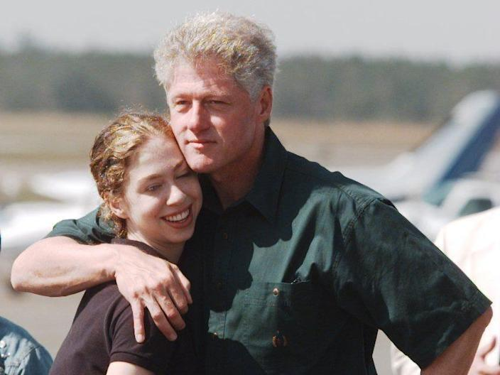 Bill Clinton and his daughter, Chelsea, in Martha's Vineyard, 1997.
