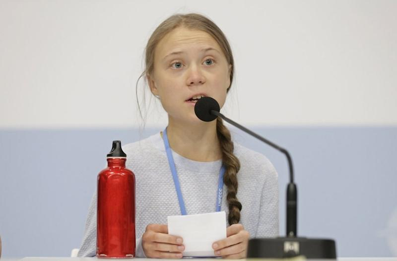 Greta Thunberg during a news conference at the COP25. Image credit: AP