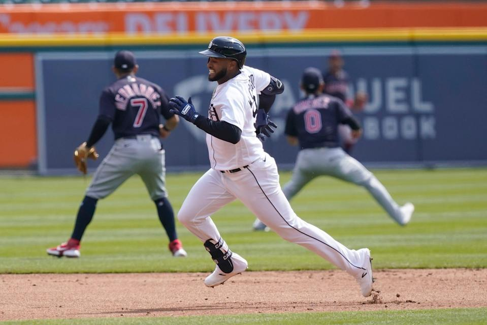 Detroit Tigers' Willi Castro heads to third on a triple to center field during the first inning of a baseball game against the Cleveland Indians, Saturday, April 3, 2021, in Detroit.