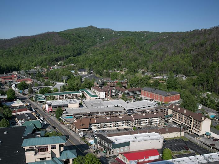 aerial view of buildings and greenery in Gatlinburg, Tennessee.