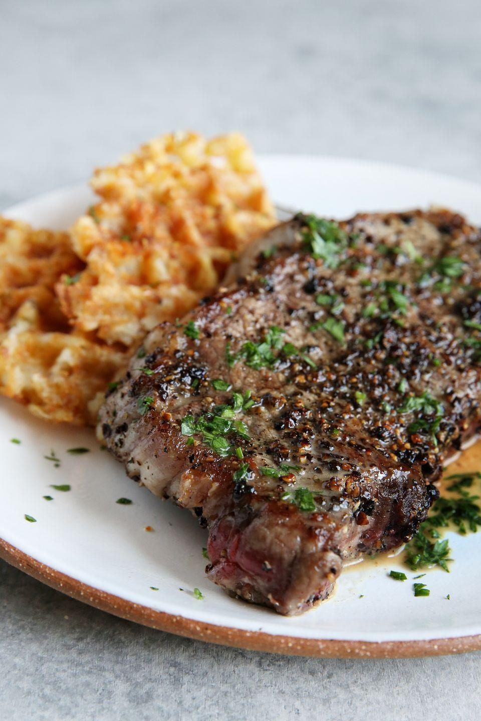 """<p>Sure, those tater tot waffles that we recommend alongside this steak aren't keto-friendly, but we can one up them. Try these <a href=""""https://www.delish.com/cooking/recipe-ideas/recipes/a53533/cauliflower-waffles-recipe/"""" rel=""""nofollow noopener"""" target=""""_blank"""" data-ylk=""""slk:cauliflower waffles"""" class=""""link rapid-noclick-resp"""">cauliflower waffles</a>! </p><p>Get the recipe from <a href=""""https://www.delish.com/cooking/recipe-ideas/recipes/a48914/steak-au-poivre-with-tater-tot-waffles-recipe/"""" rel=""""nofollow noopener"""" target=""""_blank"""" data-ylk=""""slk:Delish"""" class=""""link rapid-noclick-resp"""">Delish</a>. </p>"""