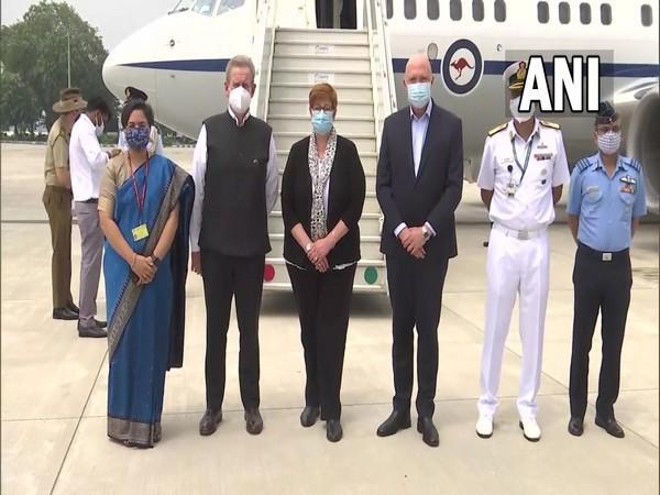 Australian ministers at Air Force Station, Palam in New Delhi. Photo Courtesy: Twitter/MEAIndia