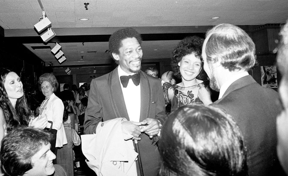 <p>Morgan Freeman decided to pursue a career in acting later in life, after first working as a mechanic in the Air Force. The actor's big break was in 1978, when he landed the leading role in <em>The</em> <em>Mighty Gents </em>on Broadway. Here he at the opening night premiere with his then-wife, Jeanette. </p>